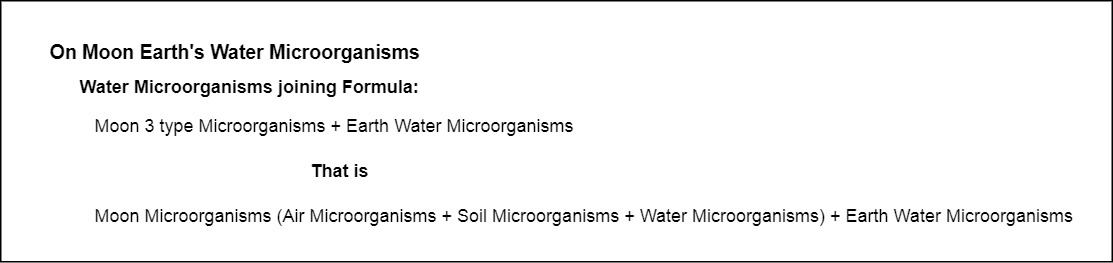 On Moon Earth's Water Microorganisms