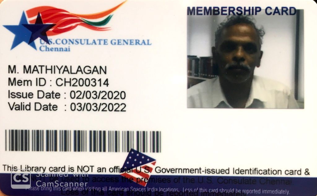 Sri M Mathiyalagan - Head Universe Researcher - US Consulate General Library - Individual Member