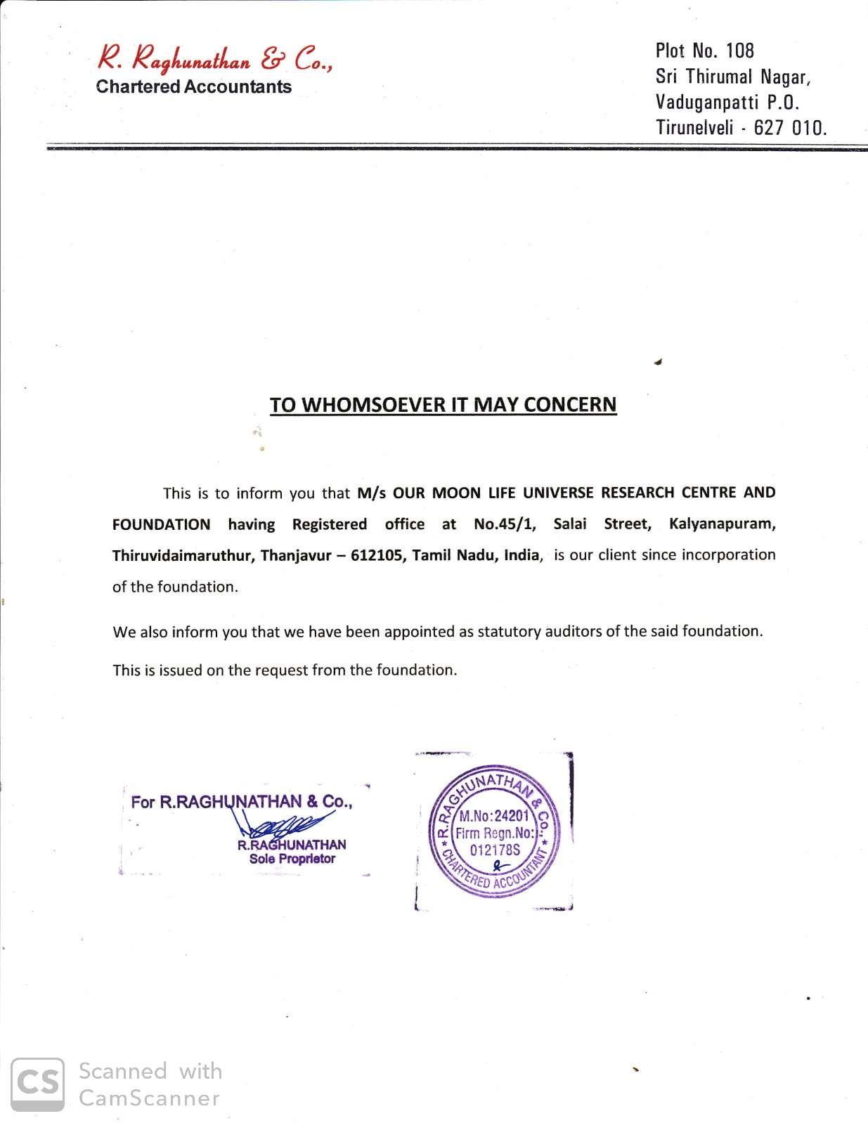 CA Letter to OurMoonLife Universe Research Centre and Foundation